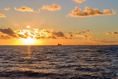 Sunset on the Mediterranean Sea Royalty Free Stock Photography