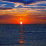 Sunset at Mediterranean sea with orange sky Royalty Free Stock Photos