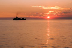 Sunset in Mediterranean sea Stock Image