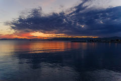 Sunset on the Mediterranean sea shot in Juan Les Pins on the Fre Royalty Free Stock Images
