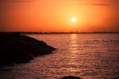Sunset at Mediterranean Sea Royalty Free Stock Images