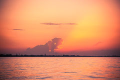 Sunset at Mediterranean Sea Stock Photo