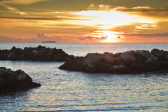 Sunset in the Mediterranean Sea Royalty Free Stock Photos