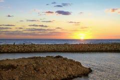 Sunset on the Mediterranean Sea stock photography