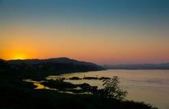 Sunset at Mekhong river stock photography