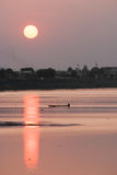 Sunset on the mekong, Laos. Stock Image