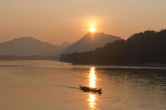 Sunset on the Mekong River Stock Photos