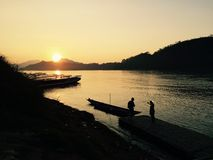Sunset. At mekong river Royalty Free Stock Photography