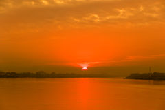sunset at Mekong River Royalty Free Stock Photography