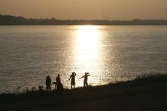 Sunset at the Mekong river between Laos and Thailand Royalty Free Stock Photo