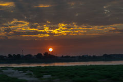 Sunset at the Mekong river. Royalty Free Stock Photography