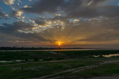 Sunset at the Mekong river. Royalty Free Stock Images