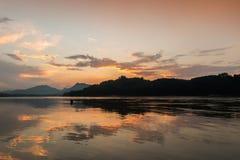 Sunset at Mekong river, Luang prabang Stock Photos