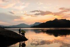 Sunset at Mekong river, Luang prabang Stock Images