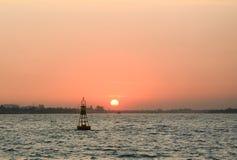 Sunset on Mekong river Stock Image