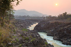 Sunset At The Mekong River. View of the Don Khon island, Laos Stock Photo