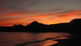 Sunset in Melaque, Mexico Royalty Free Stock Photography
