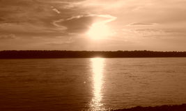 Sunset in memphis on the Mississippi River Royalty Free Stock Images