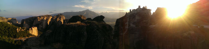 Sunset at Meteora, Greece Stock Images