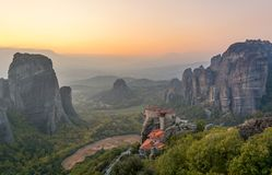 Sunset in Meteora, Greece Stock Images