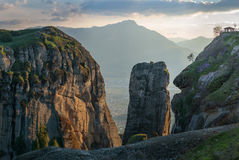 Sunset in Meteora Stock Photography
