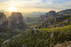 Sunset in Meteora Stock Images