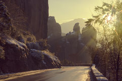 Sunset in the Meteora mountains. Road to the Meteora monasteries Royalty Free Stock Photos