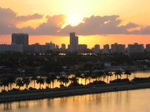 Sunset Miami City and marina Royalty Free Stock Photography