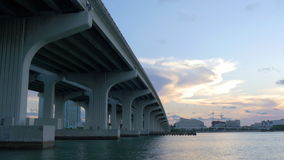 Sunset miami downtown under the bridge airport district 4k usa. Usa sunset miami downtown under the bridge airport district 4k stock video