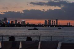 Sunset Miami. Miami Sunset sky line.Amazing views.Skyline Royalty Free Stock Photos