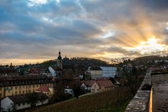 Sunset from the Michaelsberg. The Altenburg during sunset viewed from the Michaelsberg Royalty Free Stock Photography
