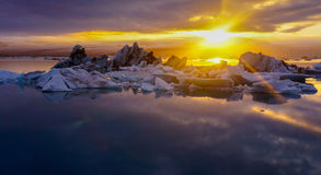 Sunset at Midnight ,Glacier Lagoon,Iceland. One of the best place that you should see once in a life time, Jokulsarlon ,the Glacier lagoon in ICELAND royalty free stock photo