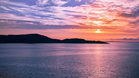 A stunning sunset during the midnight sun in Norway stock photos