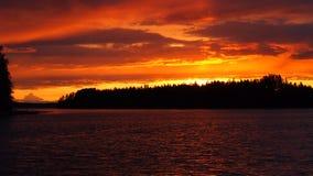 Sunset, Midsummer, Lake, Orange Royalty Free Stock Images