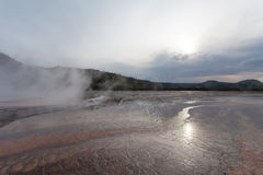 Sunset Grand Prismatic basin, Midway Geyser Basin  Royalty Free Stock Image