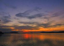 Sunset in mighty river Brahmaputra royalty free stock photography