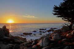 Sunset at 17-mile drive Stock Images