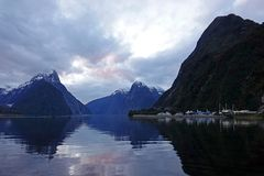 Sunset at Milford Sound, New Zealand stock image