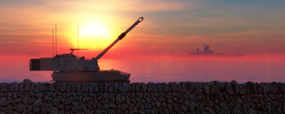sunset and militaryboat and tank Royalty Free Stock Image