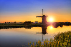 Sunset mill reflection Stock Image