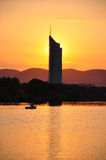 Sunset with Millenium Tower in Vienna Stock Images