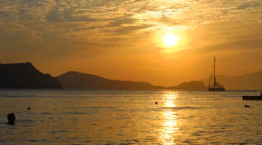 Sunset over Milos island royalty free stock images
