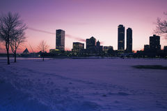 Sunset in Milwaukee. Wisconsin in winter scenery Stock Photos