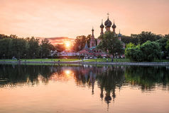 Sunset minimalism. No clouds Sunset over the temple in Ostankino in Moscow Stock Images