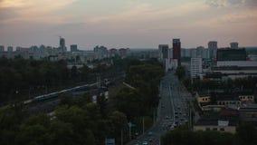 Sunset Minsk City Timdevia Road Cars na Ponte video estoque