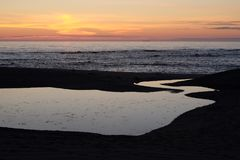 Sunset on Miramar Granja Beach , Portugal. Sunset on Miramar Granja Beach at Ocean , Portugal Stock Photography