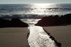 Sunset on Miramar Granja Beach , Portugal. Sunset on Miramar Granja Beach at Ocean , Portugal Stock Image