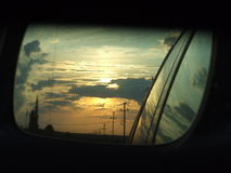 Sunset in the mirror Royalty Free Stock Photo