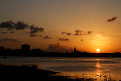 Sunset on the Mississipi river and New Orleans Royalty Free Stock Photo