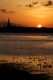 Sunset on Mississipi river in New Orleans Royalty Free Stock Images